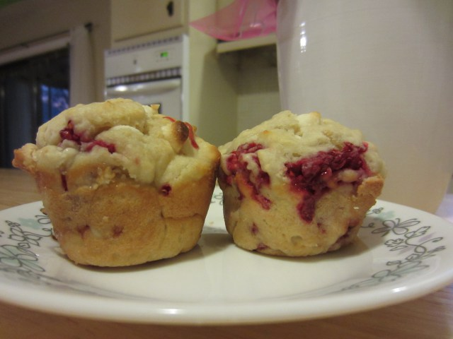 white chocolate raspberry muffins