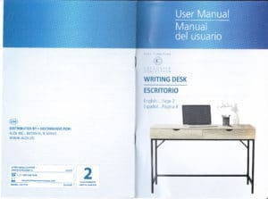 SOHL Furniture Writing Desk Manual - English-Spanish