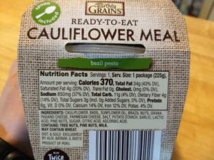 Earthly Grains Basil Pesto Cauliflower Meal Nutrition Info