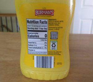 Burman's Traditional Yellow Mustard - Ingredients