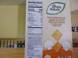 Simply Nature Cheddar Cauliflower Crackers Ingredients and Nutrition