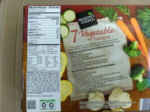 Season's Choice 7 Vegetable Lasagna nutrition and ingredients