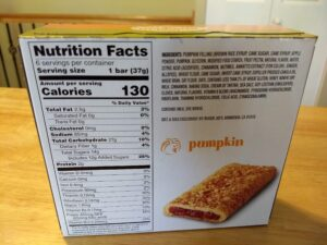 Trader Joe's This Pumpkin Walks Into a Bar Cereal Bars nutrition and ingredients