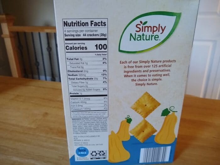 Simply Nature Sea Salt Butternut Squash Crackers