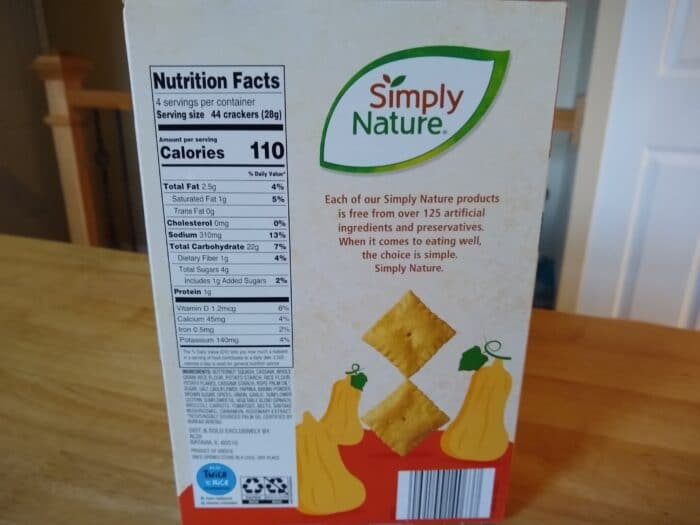 Simply Nature Cinnamon Brown Sugar Butternut Squash Crackers