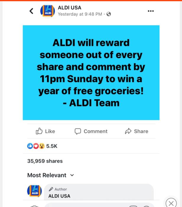 Aldi free groceries Facebook scam