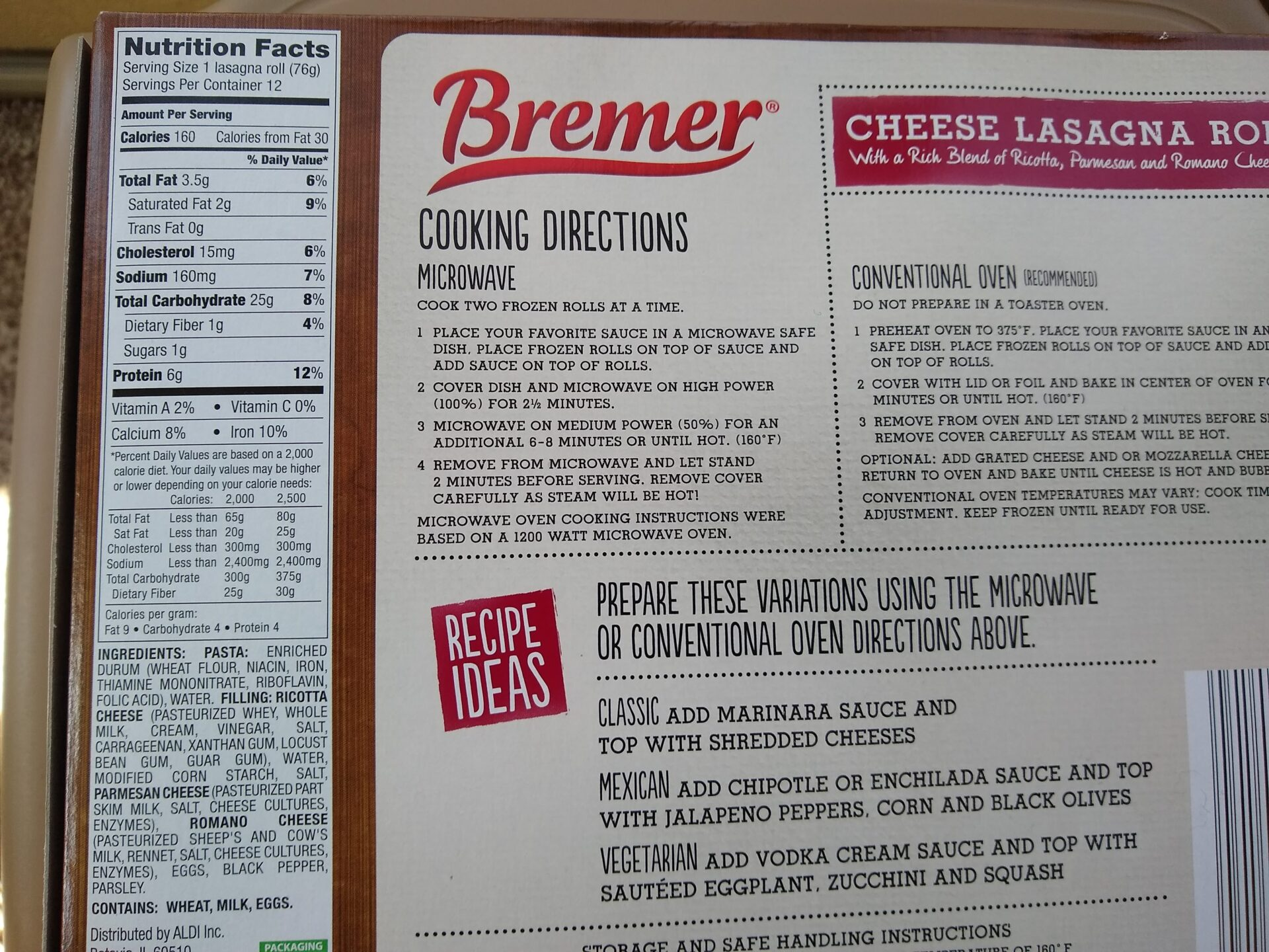 Bremer Cheese Lasagna Rolls nutrition and ingredients. jpg