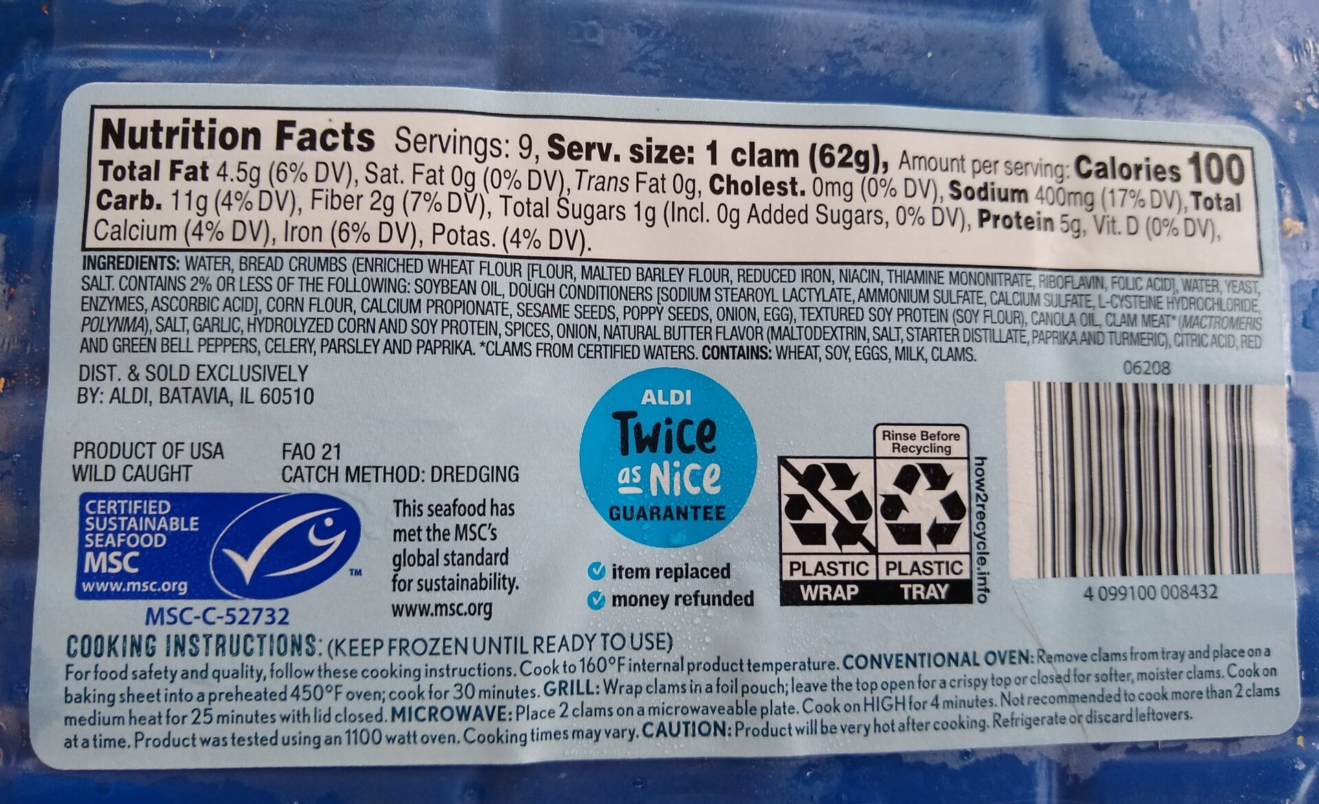 Fremont Fish Market Stuffed Clams nutrition info and ingredients
