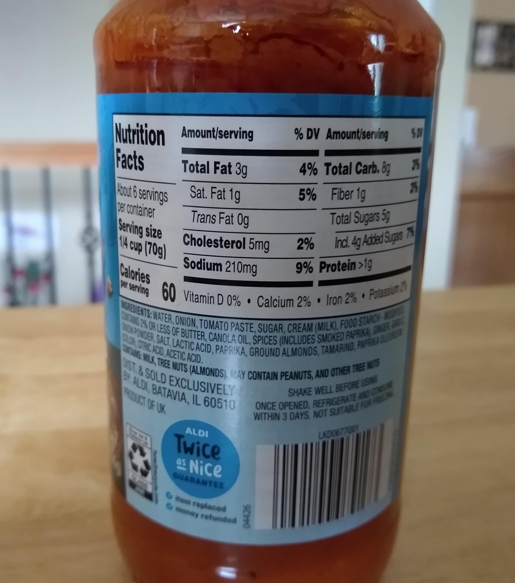 Cook House Butter Chicken nutrition info and ingredients