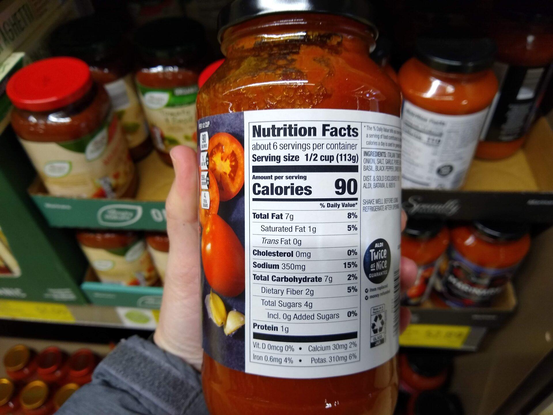 Specially Selected Premium Marinara Nutrition Information