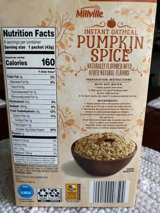 Millville Pumpkin Spice Instant Oatmeal 4