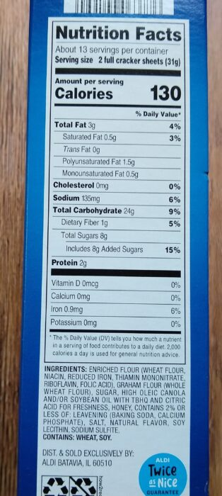 Aldi Graham Crackers - Nutrition Information