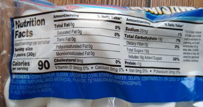 Aldi Marshmellows - Nutrition Information