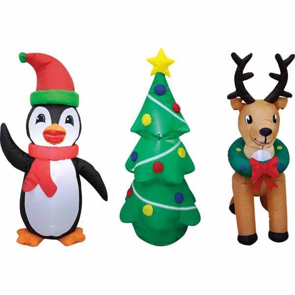 Merry Moments Penguin, Reindeer, Tree, Santa, Snowman or Stop Sign 4' Inflatable