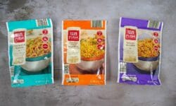 Fusia Teriyaki Noodles, Thai Sesame Noodles, and Chicken Flavor Fried Rice