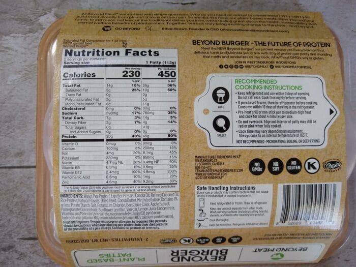 Beyond Meat Beyond Burger Plant Based Patties